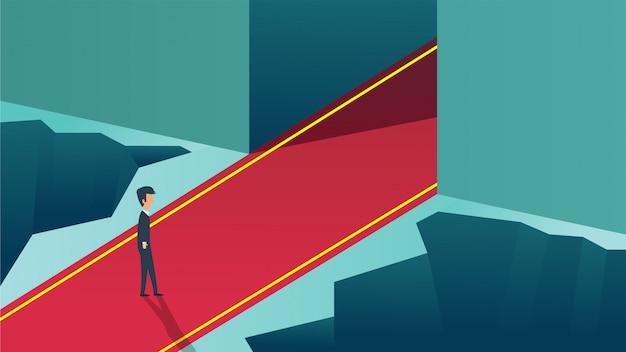 Carrièrekans die belangrijke bedrijfsconceptenillustratie beginnen te verlaten.
