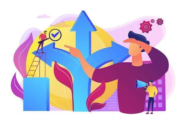 Carrièremogelijkheid. life coaching, zelfontwikkeling. pad, richting kiezen. besluitvorming, probleemoplossende activiteit, beste beslissing hier concept.