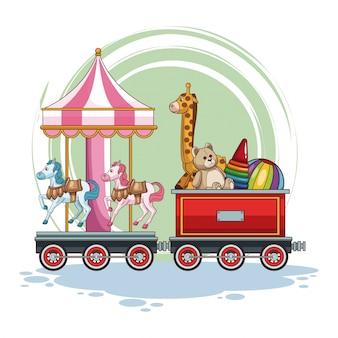 Carrousel en kinderspeelgoed op de trein