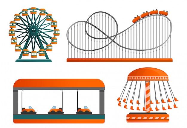 Carrousel icon set, cartoon stijl