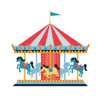 Carrousel met paarden of draaimolen voor kinderen pretpark circus vlakke stijl vector illu