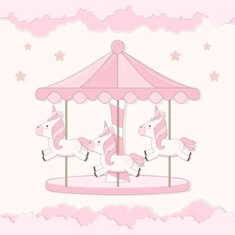 Carrousel met schattige eenhoorn en wolk