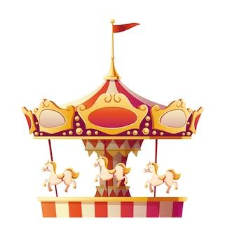 Carrousel vrolijk gaat rond met geïsoleerde paarden.