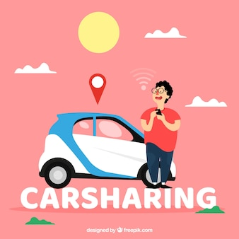 Carsharing woord concept