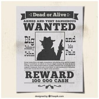 Cartel se busca crimineel en hoja de periódico