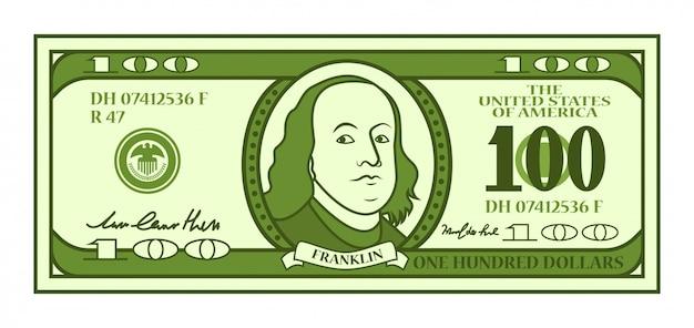 Cartoon 100 dollarbiljet met gestileerd franklin-portret