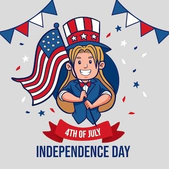 Cartoon 4 juli - onafhankelijkheidsdag illustratie
