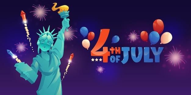 Cartoon 4 juli - sjabloon voor spandoek van de onafhankelijkheidsdag