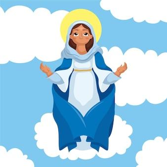 Cartoon aanname van maria illustratie