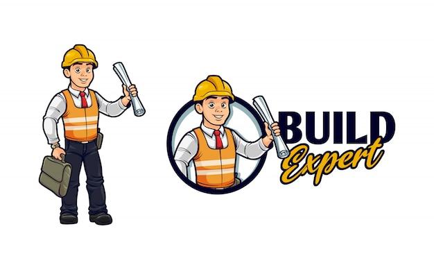 Cartoon aannemer karakter mascotte logo