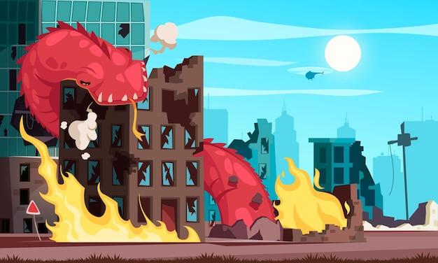 Cartoon aanvallende gigantische worm die de bouwillustratie vernietigt