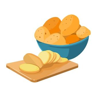 Cartoon aardappel kom snijplank met aardappel