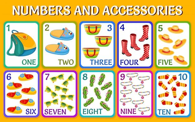 Cartoon accessoires. kinderen kaarten nummers.
