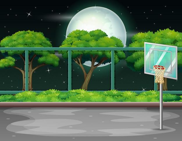 Cartoon achtergrond met basketbalveld in de natuur