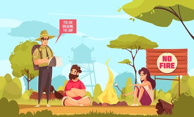 Cartoon achtergrond met boswachter en twee mensen die de wet overtreden en vuur maken in het bos