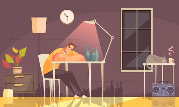 Cartoon achtergrond met eenzame overstuur man die lijdt aan alcohol zittend op een stoel thuis verslaving