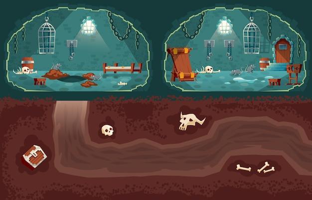 Cartoon achtergrond met middeleeuwse gevangenis, martelkamer en ondergrondse doorgang voor ontsnapping.