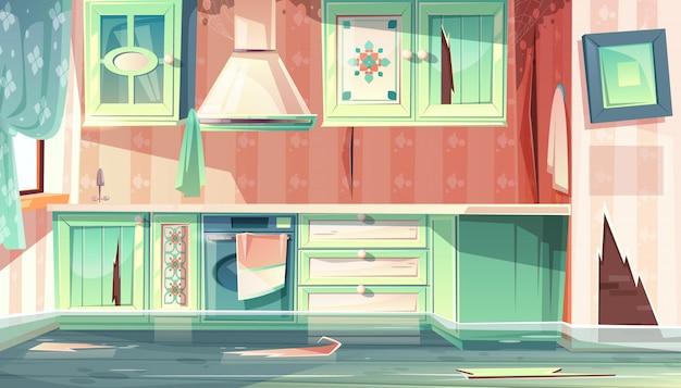 Cartoon achtergrond met provence kamer, de vloed in vuile keuken.