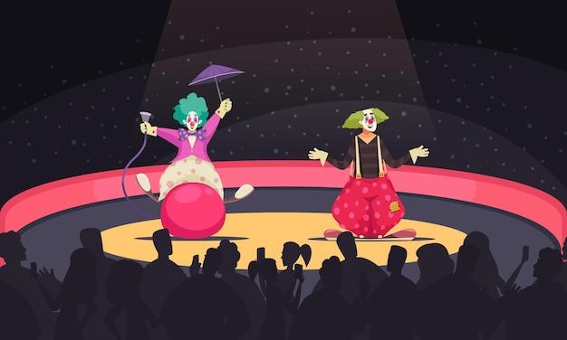 Cartoon achtergrond met twee clowns die grappige kostuums dragen die optreden in circus
