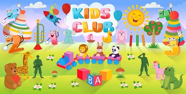 Cartoon achtergrond met veel speelgoed voor kinderen