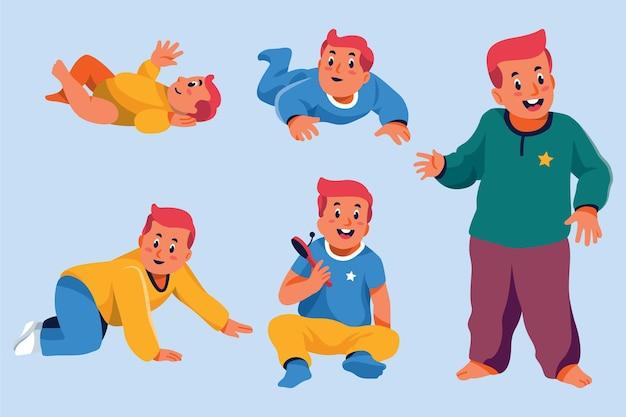 Cartoon-achtige stadia van een babyjongen