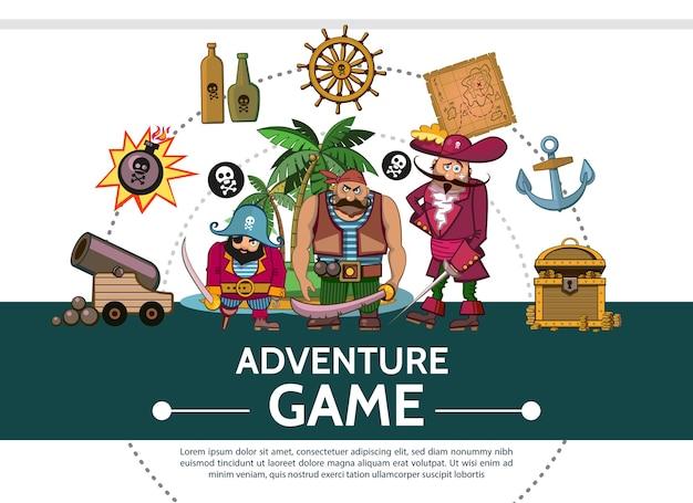 Cartoon adventure game ui-elementen samenstelling