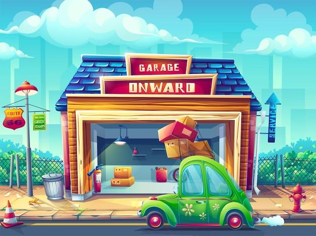 Cartoon afbeelding garage met voertuig pin-up stijl