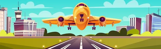 Cartoon afbeelding, geel licht vliegtuig op start-en landingsbaan. start of landing van een vliegtuig