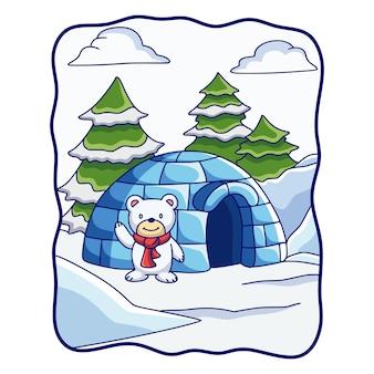 Cartoon afbeelding ijsbeer staande voor zijn huis