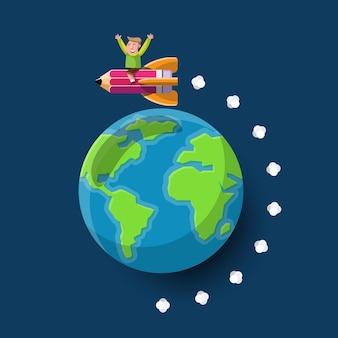 Cartoon afbeelding kennis concept. cartoon illustratie potlood raketlancering naar de hele wereld.
