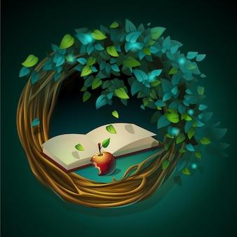 Cartoon afbeelding krans van wijnstokken en bladeren met boek en appel op een groene achtergrond