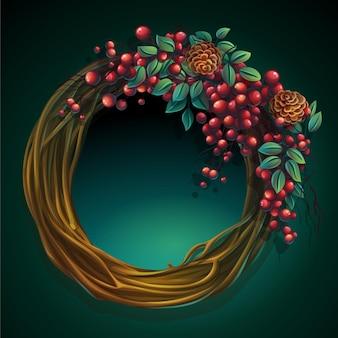 Cartoon afbeelding krans van wijnstokken en bladeren op een groene achtergrond met ash berry en ceder kegels