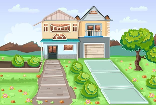 Cartoon afbeelding met huis en landschap.