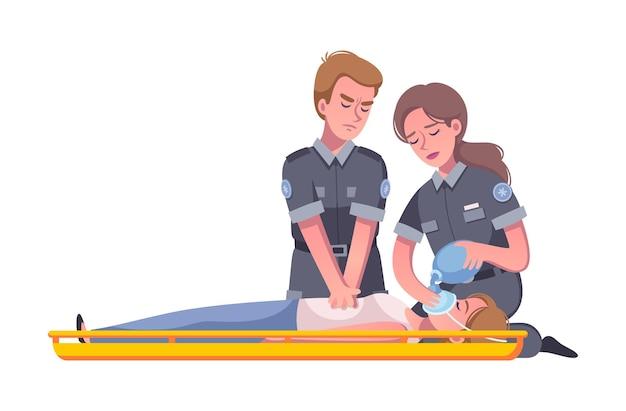 Cartoon afbeelding met paramedicus die zuurstofmasker op het gezicht van een gewonde vrouw zet