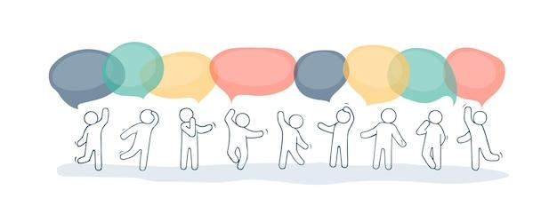 Cartoon afbeelding met tekstballonnen.