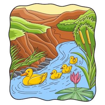 Cartoon afbeelding moeder eend met haar kuikens zwemmen in de rivier