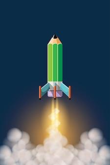 Cartoon afbeelding onderwijs concept. onderwijs helpt ons om verder en sneller te gaan, zoals het nemen van een potloodraket de prachtige ruimte in.