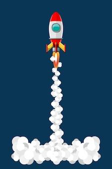 Cartoon afbeelding raketlancering geïsoleerde set. ruimtemissie raketten met rook. illustratie in 3d-stijl