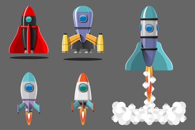 Cartoon afbeelding raketlancering geïsoleerde set. ruimtemissie raketten met rook. illustratie in vlakke stijl