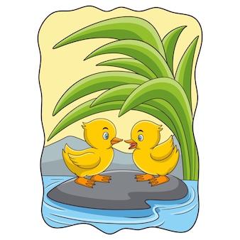 Cartoon afbeelding twee eenden zijn op een rots in het midden van de rivier