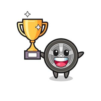 Cartoon afbeelding van auto wiel is blij met het omhoog houden van de gouden trofee, schattig stijlontwerp voor t-shirt, sticker, logo-element