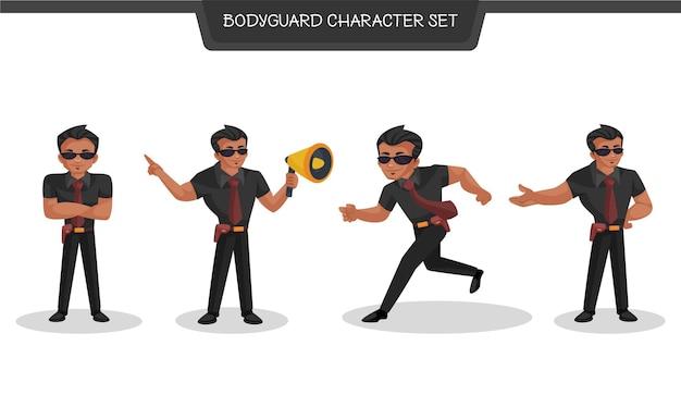 Cartoon afbeelding van bodyguard tekenset