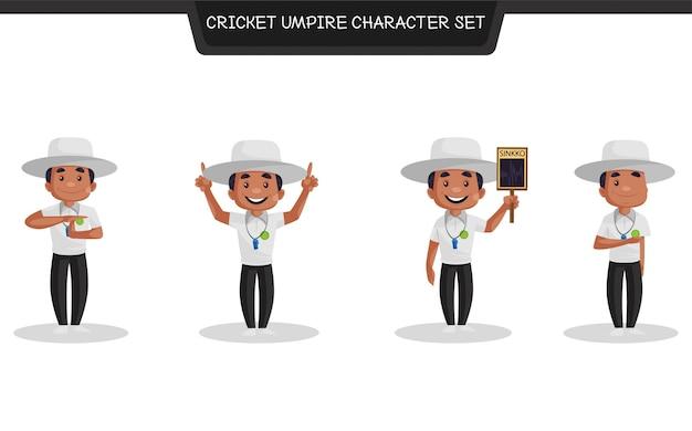 Cartoon afbeelding van cricket scheidsrechter tekenset