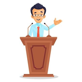 Cartoon afbeelding van de man die toespraak houdt