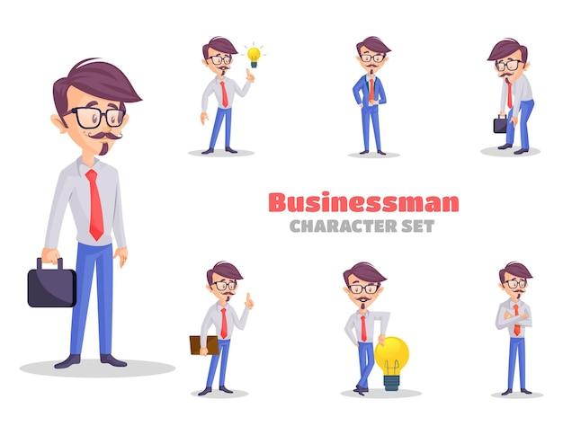 Cartoon afbeelding van de zakenman tekenset