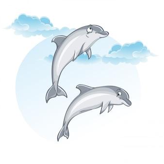 Cartoon afbeelding van dolfijnen.