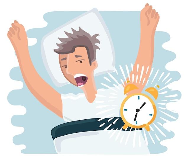 Cartoon afbeelding van doorgeslapen man werd wakker