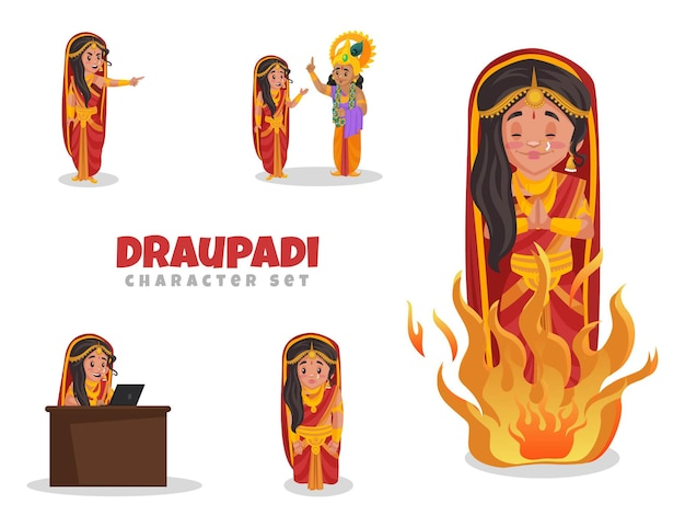 Cartoon afbeelding van draupadi character set