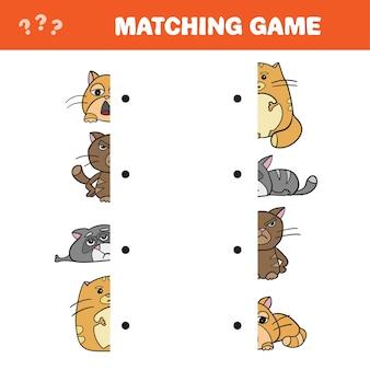 Cartoon afbeelding van educatief spel van bijpassende helften van kattenkarakters - match game - vector