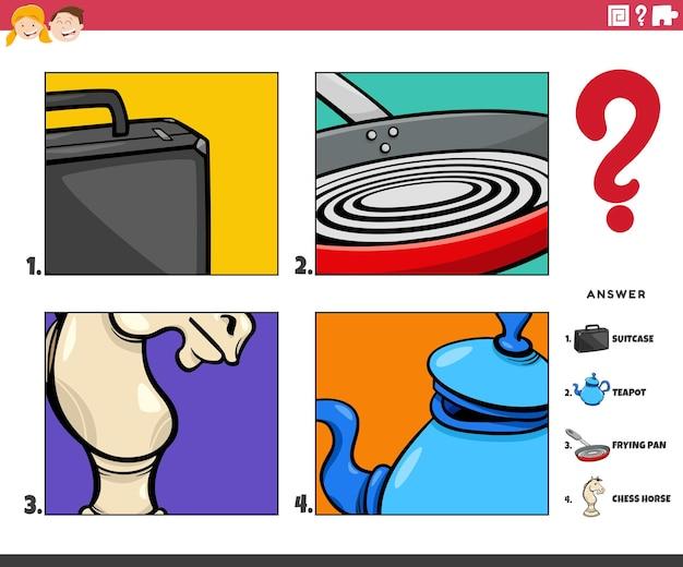 Cartoon afbeelding van educatief spel van het raden van objecten activiteit voor kinderen